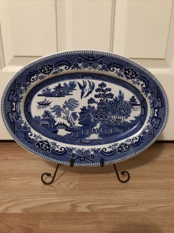 Rare And Vintage Blue Willow Oval Dish, Hotel China, Shenango China