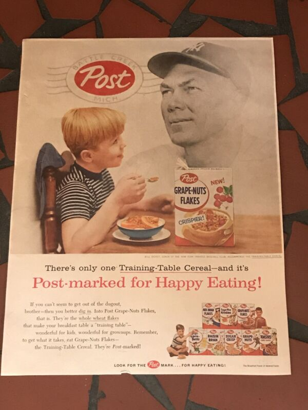 1956 POST GRAPE NUTS CEREAL VINTAGE AD W/ BILL DICKEY NEW YORK YANKEES COACH