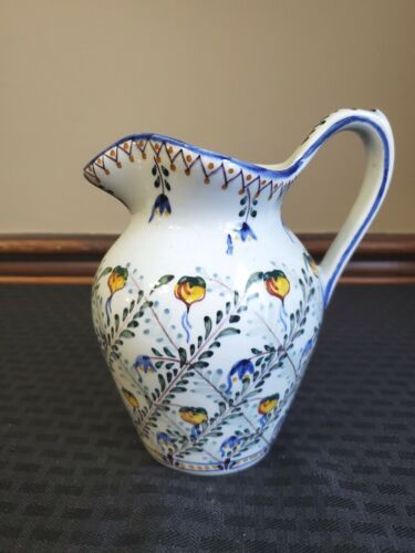 "Vintage Ceramic Hand Painted Portugal  Pitcher 6 1/2"" Tall FC mark"