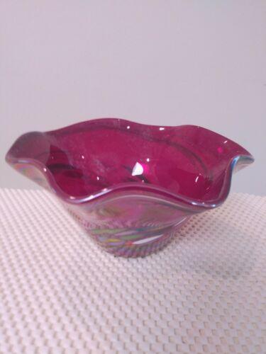 GLASS EYE IRIDESCENT ART GLASS BOWL