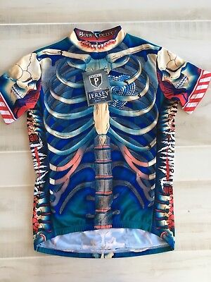 9e6a33efe Primal Wear The Bone Collector Cycling Jersey Bicycle Skeleton Zip Men s M.  NWT