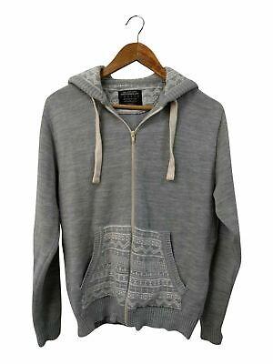 Mens Burton Grey Aztec Print Zip Hoodie Size Medium #4L3