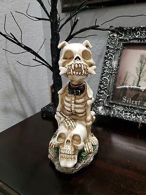 Halloween Spooky Skeleton Dog & Skull Sculpture Prop Tabletop Decor 8.5