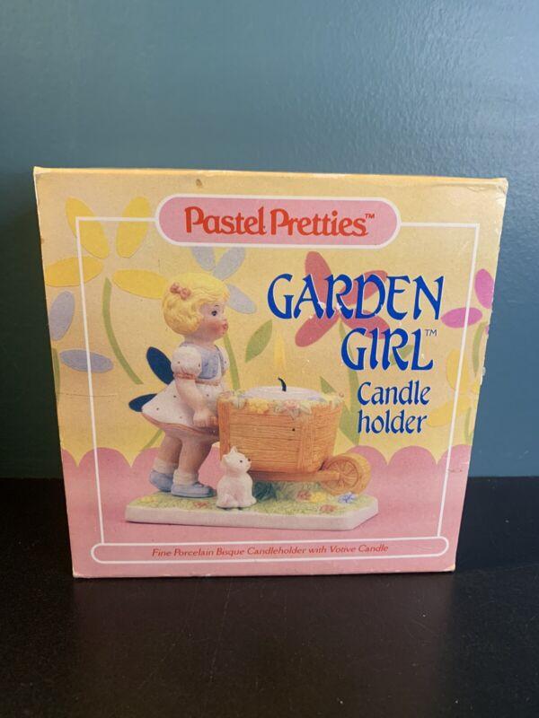 Vintage 1986 Pastel Pretties W/ Wheelbarrow Fine Bisque Porcelain Candle holder