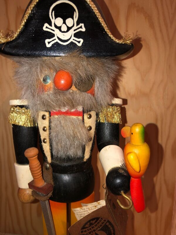 "16"" Holzkunst Christian Ulbricht Pirate Nutcracker West Germany Vintage Wooden"