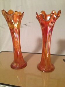 Pair of Carnival Glass Vases