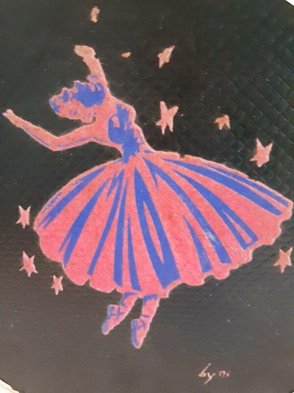 VINTAGE BLACK BALLET SLIPPER DANCE CARRY CASE- PINK FLOCKED PICTURE OF BALLERINA