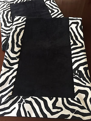 Black Suede & Waverly Wildlife Zebra Animal Print Table Runner by ThemeRunners