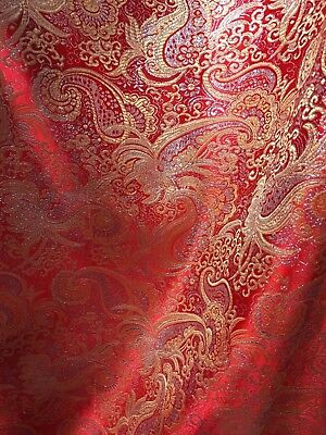 RED GOLD SILVER METALLIC PAISLEY BROCADE FABRIC (60 in.) Sold By The Yard](Red Brocade)