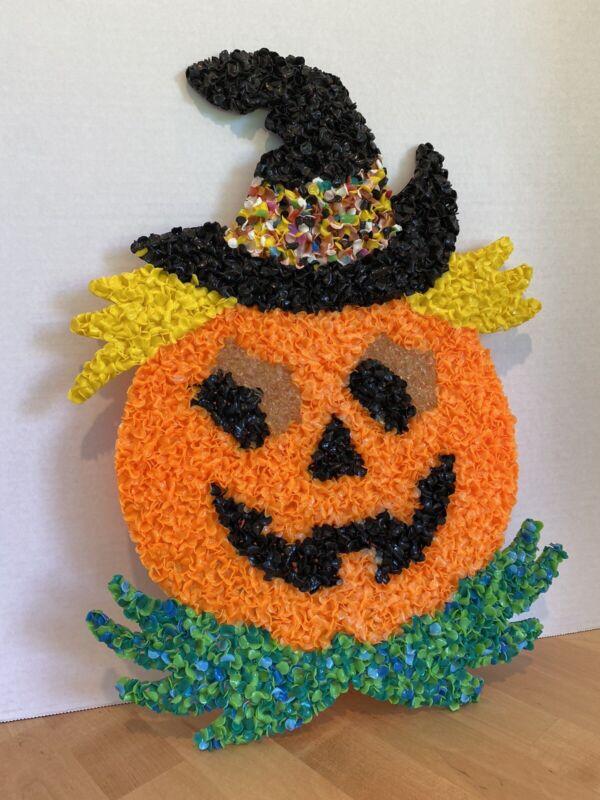 Vintage 80s Halloween Hanging Decor Melted Plastic Popcorn Pumpkin Jack O