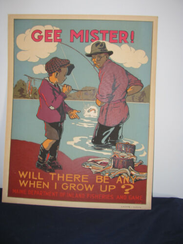 """VINTAGE MAINE DEPARTMENT OF INLAND FISHERIES """"GEE MISTER"""" POSTER"""