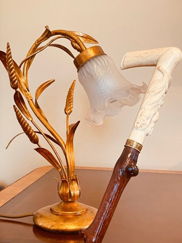 """Wicked English Thorn Tree Cane, Large Carved Bone """"L"""" Handle/Ferrule, Spotless."""