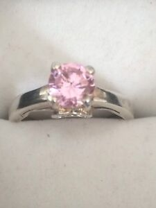 Ladies Sterling Silver Ring Pink Ice 7 1/2