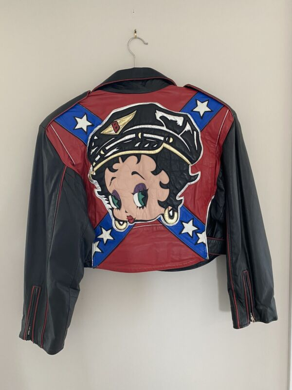 VTG BETTY BOOP WOMENS LEATHER MOTORCYCLE RIDING JACKET MAZIAR RARE SZ LARGE WOW