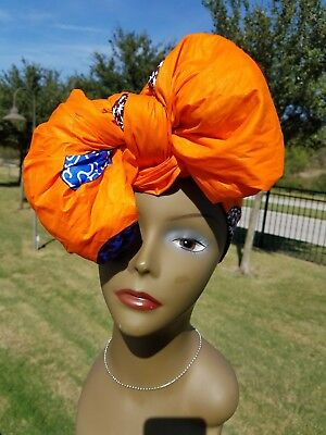Orange And Brown Headwrap;African Headwrap; African Clothing; African Fabric