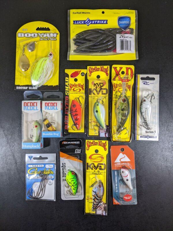 Lot of 12 Assorted Fishing Bass Lures Bait New! Rebel KVD Strike King & More 🎣