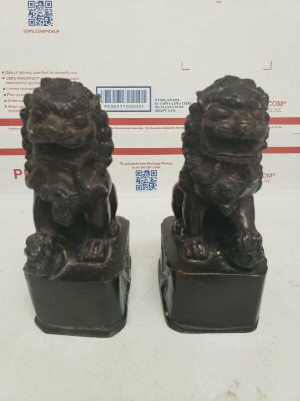2pcs. Chinese Metal Animal Feng Shui Foo Dog Lion Figurine Appro...