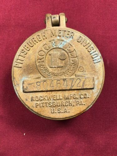 Vintage Antique Bronze Rockwell Water Meter Cover / Cap Key Hide Key Safe 472