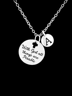 Christian Necklace With God All Things Are Possible Initial Bible Scripture Gift