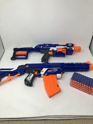 NERF Gun Lot - RETALIATOR and STOCKADE - Ammo Clips Batteries Darts