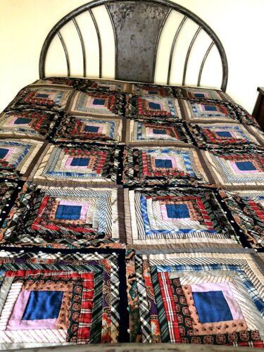 Beautiful 1890  Vintage ANTIQUE VICTORIAN  QUILT LOG CABIN PATTERN