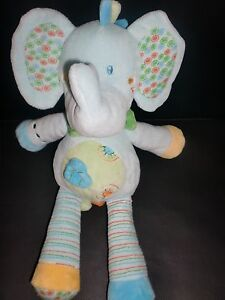 doudou peluche l phant bleu vert jaune vetir gemo 29cm 2 dispo ebay. Black Bedroom Furniture Sets. Home Design Ideas