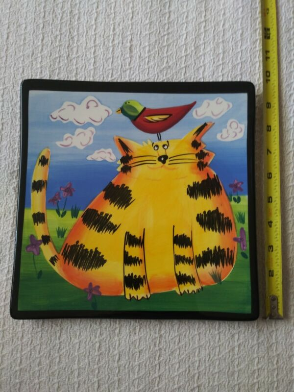 Chubby Cat Hand Painted Wall Plate Decor