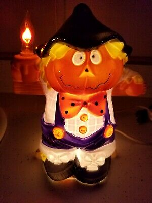 Vintage Halloween. Lighted Blown Plastic Scarecrow Flicker Candle Decoration