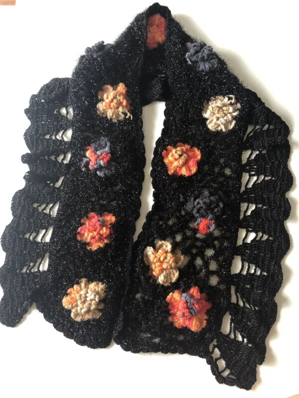 Kintting Scarf And Hat Black With Flower