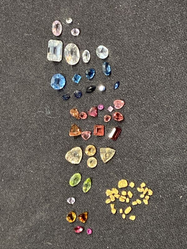 Loose Fine Cut Gemstone Lot With Gold Nuggets 37 High Quality Stones/Nuggets