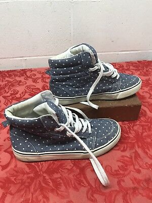 Old Navy Blue Polka Dot High Top Sneakers Shoes sz 4 Girls Chambray Tennis