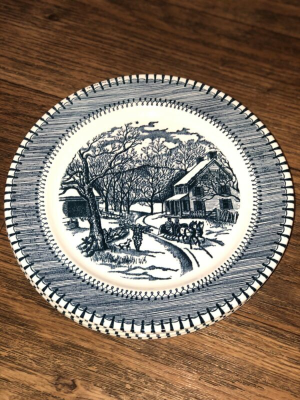 Vintage Knowles Country Life Currier and Ives Winter Scene Blue-Set of 5
