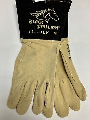 Black Stallion Tig Welding Gloves 25d-blk Premium Split Deerskin Size Medium