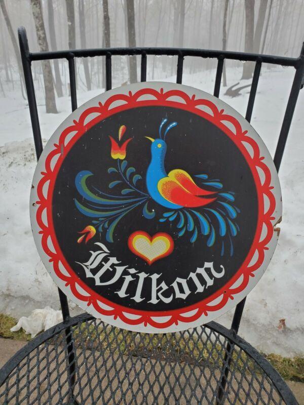 """Vintage """"Wilkom"""" 15 3/4"""" Hex Sign , Jacob Zook"""