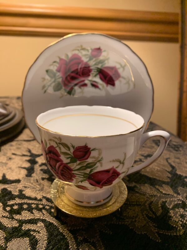 Colclough Bone China Tea Cup and Saucer - Burgundy Roses - Good Condition!