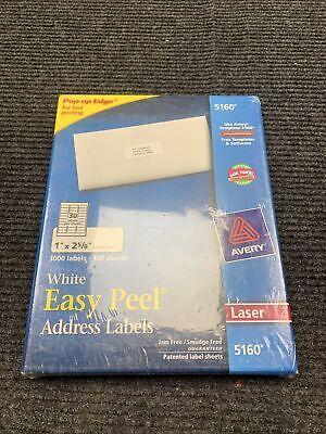 New Avery Easy Peel Address Label - 1 X 2-58 Length Permanent 3000 Box