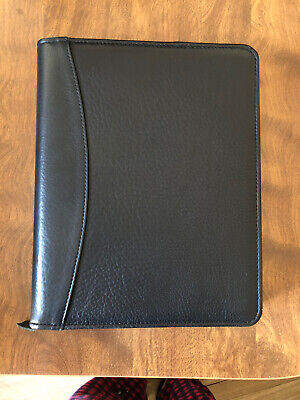 Franklin Covey Quest 7 Ring Binder Planner Black Nappa Leather Gently Used