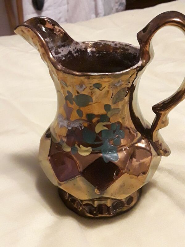 Antique large Copper Luster Pitcher hand painted flowers Diamond design