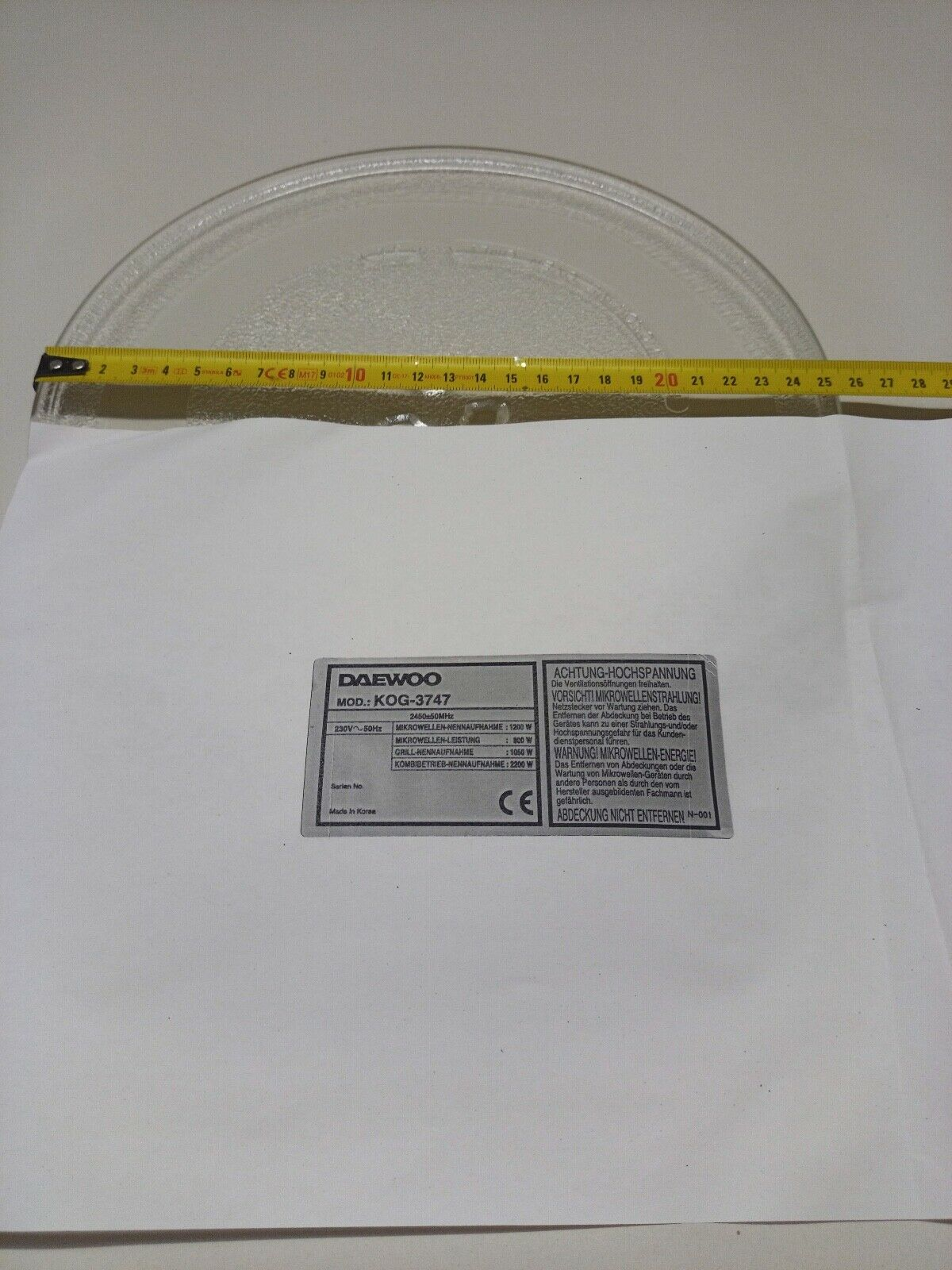 Mikrowellenteller 25,5cm Drehteller Mikrowelle Daewoo Modell: KOG-3747