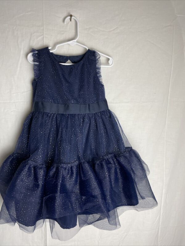 Janie and Jack Girls Size 3 Blue With Gold Sparkles Tulle Dress