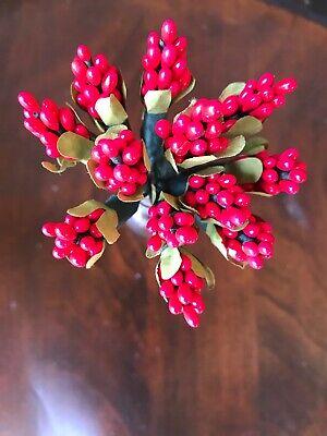Vintage Millinery Flower Red Berry Fruit 12 Stem Cluster Bunch Japan G51a