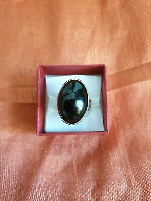 Sterling silver black stone ring stamped Silver size L