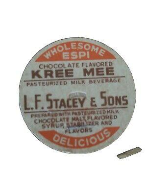 Vintage milk bottle cap L F STACEY and SONS Kree Mee Kezar Falls Maine unused