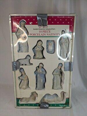 Vintage Nativity Set Christmas 10 Piece Porcelain Dynasty Classics White Blue