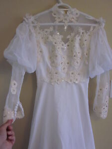**SALE** ANTIQUE Handmade Victorian Wedding Gown w/ Lace & Beads