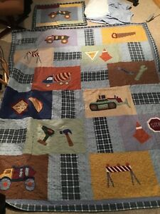 Boys construction twin comforter, bed skirt, and pillow sham