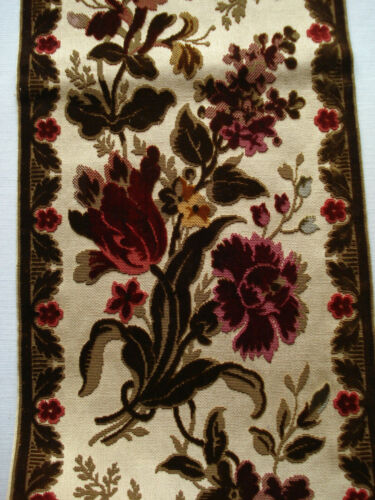 "antique french 19th c cut silk velvet border 46"" x 7 1/4"""