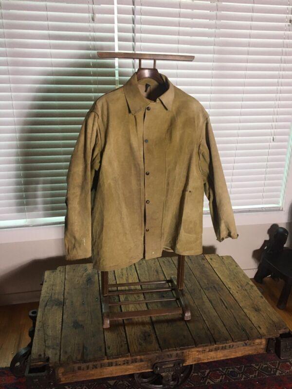 vintage 1940's  waterproof canvas Coat Xl. Rare Piece