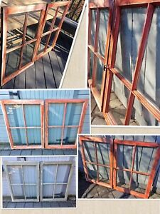 2 stunning Large Antique Windows with antique glass intact