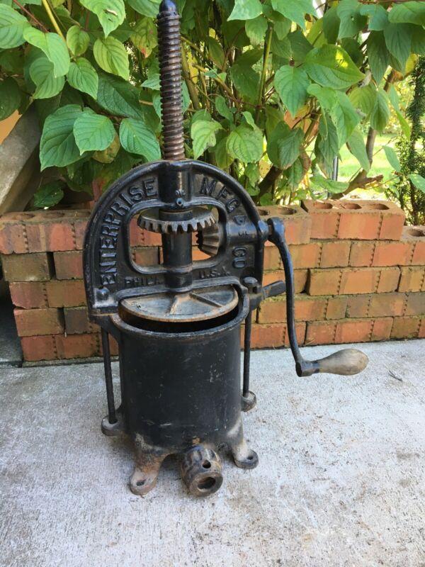 Antique Enterprise Philadelphia Pennsylvania Sausage Press 4 Quart Cast Iron